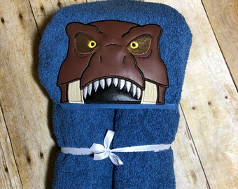 T Rex hooded towel, dinosaur towel, boys hooded towel, blue hooded towel
