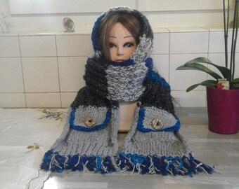 2 m 80/22 cmTres large scarf blue gray with 2 pockets-man/scarf hood blue grey black / - women-teen.