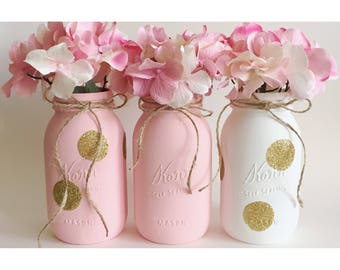 Pink and Gold Centerpieces, Polka Dot Mason Jars, Gold First Birthday