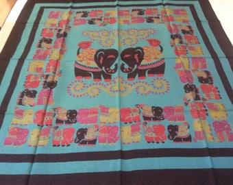 Vintage Silk Scarf / Thai Elephants