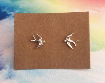 Sterling Silver Bird Earrings, Sterling Silver Swallow Earrings, Christmas Gifts for Her