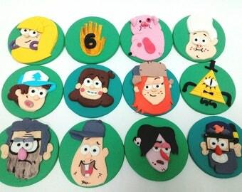Gravity Falls cupcake toppers 12 pcs  Edible Mabel Dipper Stan