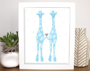 Happy Giraffes Childrens Wall Art, 8x10 Printable, Baby Gift, Nursery Art, Kids Room Wall Art, Baby Shower Art, Blue Animal Art, Zoo Animal