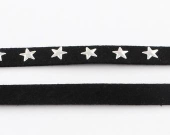 1 m of Black Suede studded with silver stars 10 x 2 mm