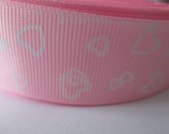 Pink grosgrain Ribbon with white hearts in 25 mm the meter