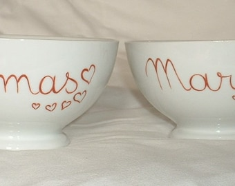 2 bowls breakfast personalized hearts, gift idea Valentine's day