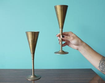 Brass Toasting Goblets / Brass Champagne Flutes