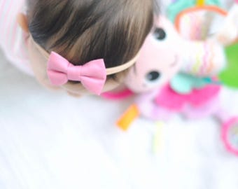 Baby Girl classic Bow Headband - Nylon Headbands - Hair clip - Infant / Toddler /  Fabric Hair Bows / Clips - mauve rose