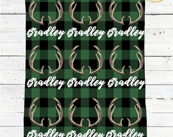 Green Buffalo Plaid Blanket / Name Baby Blanket Boy / Personalized Baby Blanket / Antler Baby Boy Gift / Buffalo Check Baby Blanket / Antler