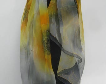 Yellow 160x80, Chiffon silk. Unique!