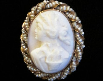 10K Cameo Brooch or Pendant - X2302