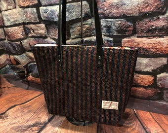 Harris Tweed tote with  leather everyday bag ready to ship grab and go tote