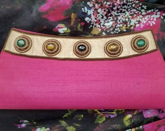 Embroidered clutch, pink clutch pink evening bag semi precious stones zardozi clutch zardozi evening bag India gifts for her