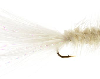 Fishing Flies - Bead Head Wooly Bugger - White - Size 14, 16, 18