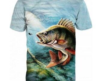 New Ultramodern 3D Printed High Quality Big Fish Men's blue T-shirt