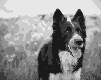 Border Collie, Layered Papercut Template, Papercutting Portrait, Pet Portraite, Dog, Canine, Commercial Use, Personal Use