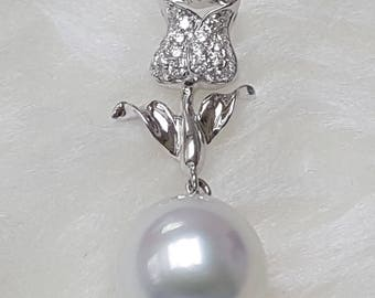 12mm South Sea Pearl Pendant, AA+/AAA, Oval shape, 18K 0.21ct Diamond