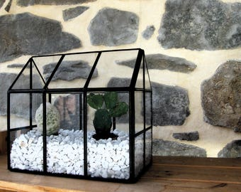 Terrarium, mini glass - tiffany stained glass, stained glass terrarium technique - style industrial