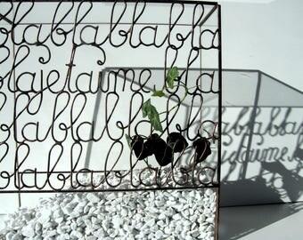 Terrarium, mini glass - tiffany stained glass, stained glass terrarium technique - little greenhouse