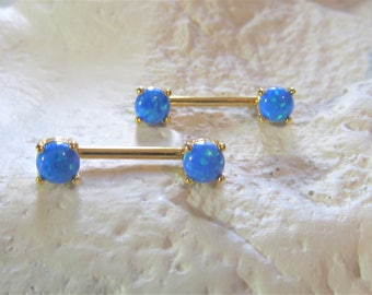 Gold Plated,Synthetic Blue Opals Nipple Barbells(Set of 2)..14g..12mm..5mm opals
