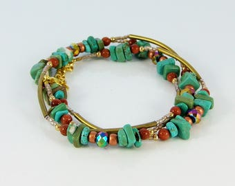 Turquoise and gold necklace/bracelet/anklet convertible, wrap