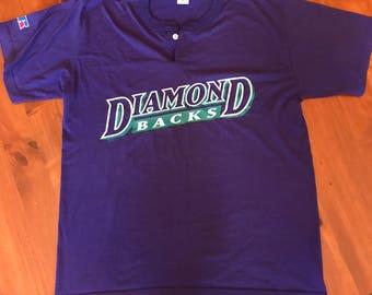 Arizona Diamondbacks Two Button Henley Shirt Russell Athletic Vintage Extra Large