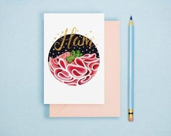 Ham Illustration Print - Food Illustration, Kitchen Decor,  Food Art Print, Kitchen Wall Art, Postcard Print, Foodie Gift