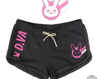 dva overwatch, d.va ow, pants, bottoms, pj, shorts terry soft heather charcoal navy, black, pink,custom,ggez support gaming,gamers,overwatch