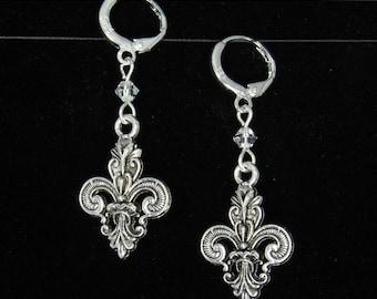 3D Fleur De Lis Charm Sterling Silver Dangle Earrings w/ Swarovski Crystal