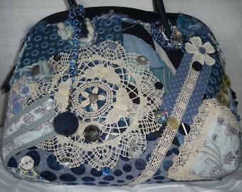 """Handbag unique and original """"Meli-melo blue"""""""