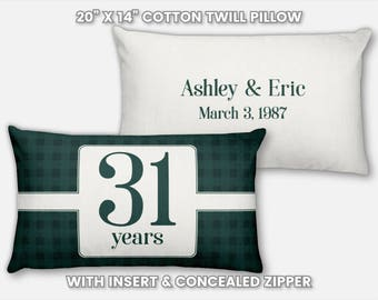 31st Anniversary Gift for Men 31 Year for Women Present Idea Him Her Gift Wife Husband Wedding Couple Pillow Personalized Parents Mom Dad