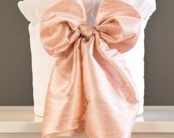 White Faux Silk Crib Bumper w/ Bow