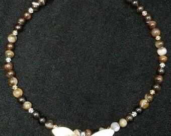 Handmade semi precious beaded necklace with pendant