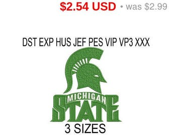 TODAY SALE 15% Michigan State Spartans embroidery design logo / embroidery designs / INSTANT download machine embroidery pattern