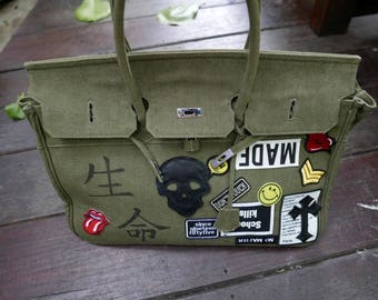 Khaki Army Canvas Birkin 45 Decorated and Hand Painted with PopArt