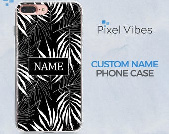 Black and White Floral iPhone Case with Custom Name or Text | iPhone X, 8 Plus, 7 Plus, 6 Plus, 8, 7, 6, Samsung Galaxy S7, S7 Edge, S8, S8+