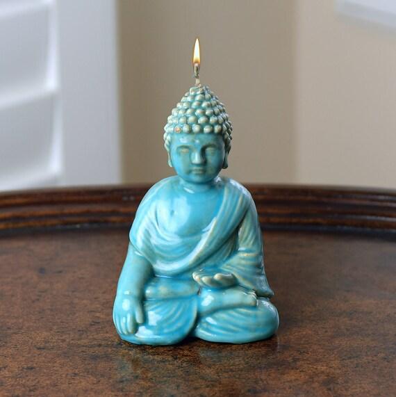 Witness Buddha Figure Candle Turquoise Glaze