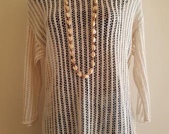 Vintage / White / Crochet Knit / Long Sleeved / Top Sweater Jumper