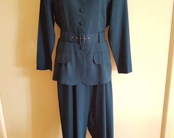 80's - 90's Teal Blue Green Suit with High Waisted Pleated Pants and Belted Jacket AU Size 14