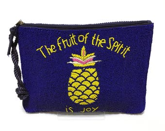 Swaraj Bag pineapple bead 2-WAY silk - BLUE beaded embroidered casual logo