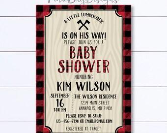 Lumberjack Baby Shower Invitation, Lumberjack Shower Invite, Plaid Baby Shower Invitation, Lumberjack Invitation, Baby Shower, Wilderness