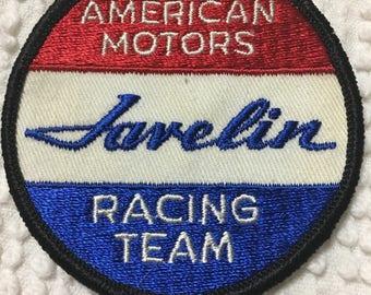 AMC JAVELIN Racing Team American Motors PATCH Script Lettering Mint Nos