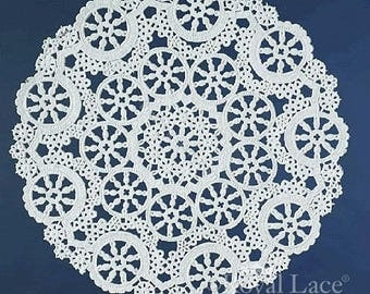 """12"""" Medallion Lace White Paper Doilies Royal Lace, 8/PK Made In The USA"""