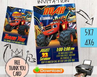 Blaze and the Monster Machines Invitation + free thank you cards. Digital files. Monster Truck Invitation, Truck Printables