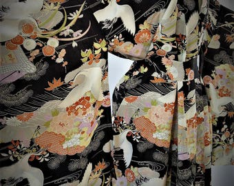 LAYAWAY PAYMENT #2 1920's Hand Tailored Silk Kimono Robe with Cranes and Floral Motif with Matching Sash