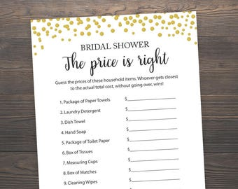 The Price is Right, Bridal Shower Games, Gold Printable Games, Gold Confetti Bridal Shower, Bridal Shower Printable Games, Price Game, J001