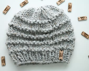 Ready to Ship | Garter Stitch Beanie, Textured, Thick, Layered, Grey Marble