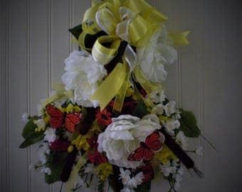 swag, 22X17, handcrafted, faux silks, summer, butterflies. peonies, cattails