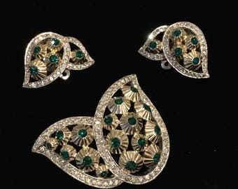 JOMAZ Flowers within Leaves Brooch and Earrings