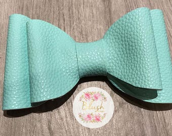 Mint Teal Faux-Leather Vinyl Hairbow Bowtie